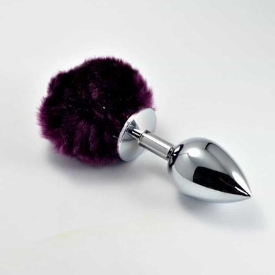 Серебряная втулка с темно-фиолетовым хвостиком LOVETOY Tail Rabbit Large