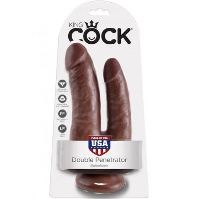 Фаллоимитатор реалистик двойной на присоске коричневый PipeDream King Cock Double Penetrator