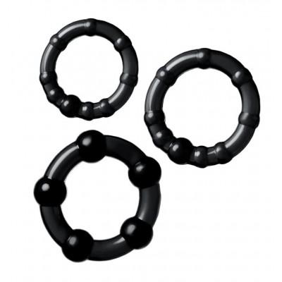 Набор из 3-х колец Штучки-дрючки силикон чёрный Ø 3,5/3/2 см