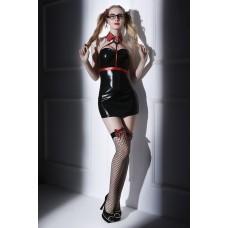 Костюм студентки Candy Girl Chastity (платье, стреп-топ, воротник, стринги, чулки, очки, аксессуары для волос) черно-красный XL
