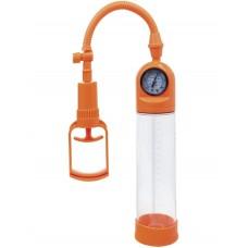 Вакуумная помпа для пениса TOYFA A-Toys с манометром оранжевая